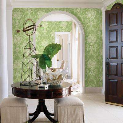 Winsome Green Floral Damask Wallpaper Sample