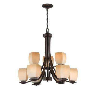 9-Light Bronze Chandelier with Amber Glass Shade