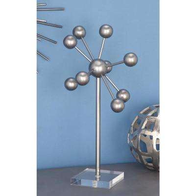 Abstract Molecule Model Iron Sculpture in Matte Gray