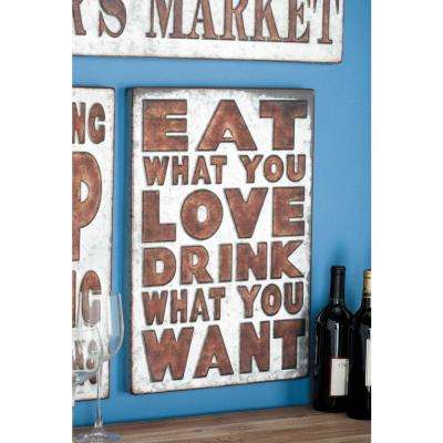 "14 in. x 21 in. Pop Arts ""Eat What You Love"" Brown Metal Wall Sign"