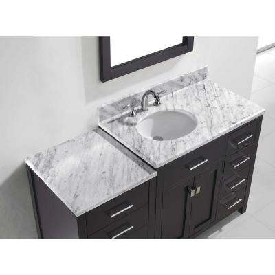 Caroline Parkway 56 in. W Bath Vanity in Espresso with Marble Vanity Top in White with Round Basin and Mirror