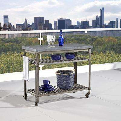 Urban Style 48 in. W Kitchen Cart in Aged Metal with Concrete Top