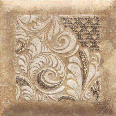 Del Monoco Adriana Rosso 6-1/2 in. x 6-1/2 in. Glazed Porcelain Decorative Accent Floor and Wall Tile