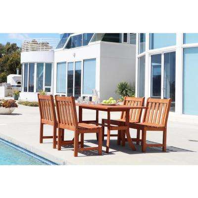 Malibu Hardwood 5-Piece Rectangle Patio Dining Set