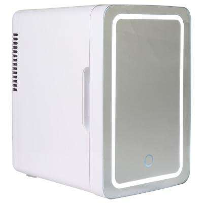 0.22 cu. ft. Mirrored LED Mini Fridge in White without Freezer