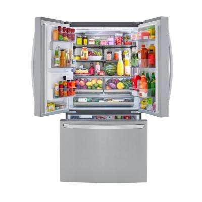 23.5 cu. ft. French Door Smart Refrigerator w/Dual Icemaker & Wi-Fi Enabled in PrintProof Stainless Steel Counter Depth