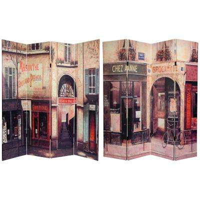 Oriental Furniture 6 ft. x 5 ft. 4-Panel Double Sided French Cafe Canvas Room Divider