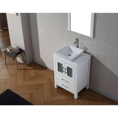Dior 25 in. W Bath Vanity in White with Stone Vanity Top in White with Square Basin and Mirror and Faucet