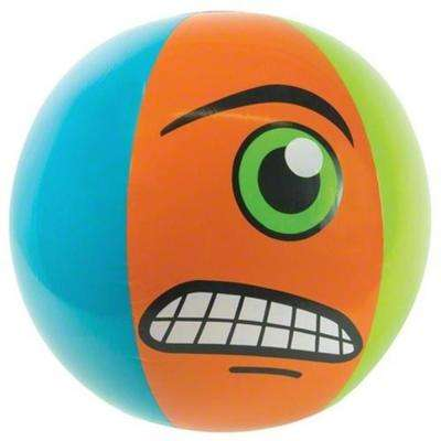 24 in. Blue, Orange and Green Monster-Theme 6-Panel Inflatable Beach Ball