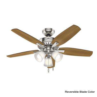 Oakfor 48 in. LED Indoor Brushed Nickel Ceiling Fan with Light
