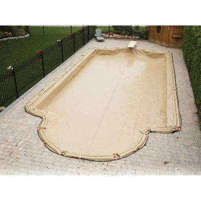 Rectangular Tan In Ground Armor Kote Winter Pool Cover