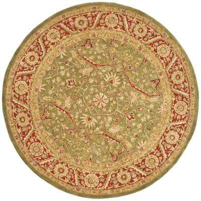 Anatolia Green/Red 8 ft. x 8 ft. Round Area Rug