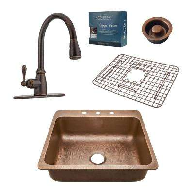 Pfister All-In-One Drop-In Rosa 25 in. 3-Hole Copper Kitchen Sink Combo with Rustic Bronze Faucet and Disposal Drain
