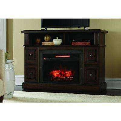Bellevue Park 48 in. Media Console Infrared Electric Fireplace in Brown Twilight Grey Finish