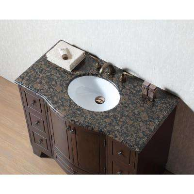 Grand Cheswick 40 in. Vanity in Dark Cherry with Granite Vanity Top in Baltic Brown with White Undermount Sink