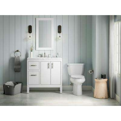 Rubicon 36 in. Bath Vanity Single Basin Vanity Top in White with White Basin