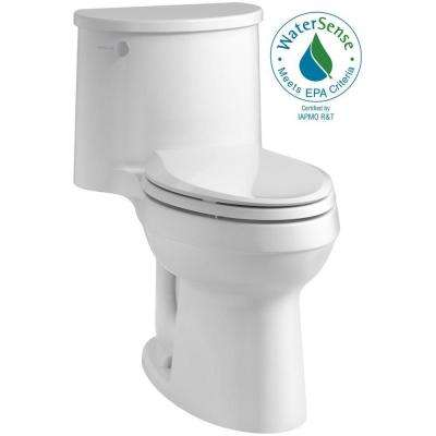 Adair Comfort Height 1-Piece 1.28 GPF Single Flush Elongated Toilet with AquaPiston Flush Technology in White