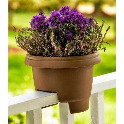 Deck Rail Planter 12 in. Terra Cotta Plastic Deck Rail Planter