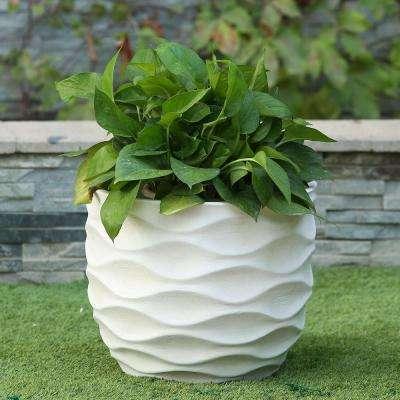 White Wavy Design MgO Planter Large