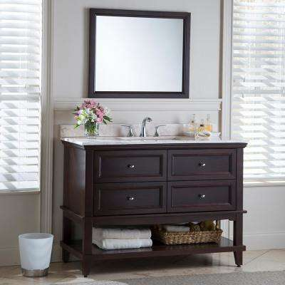 Teasian 49 in. W x 22 in. D Bathroom Vanity in Chocolate with Stone Effects Vanity Top in Dune with White Sink