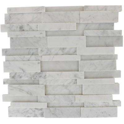 Dimension 3D Brick White Carrera Stone 12 in. x 12 in. x 8 mm Marble Mosaic Wall and Floor Tile