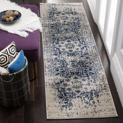 Madison Cream/Navy 2 ft. 3 in. x 12 ft. Runner Rug