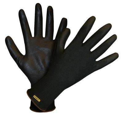 Black Polyester Large Glove with Black Polyurethane Palm Coating (4-Pair)