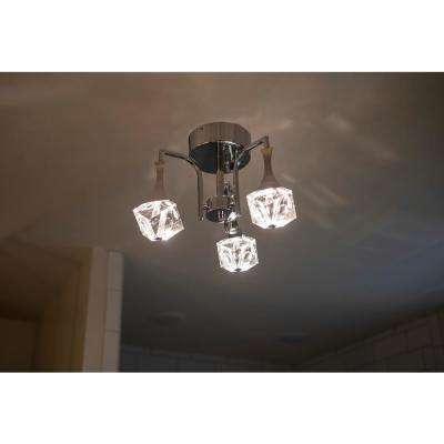 Hepburn 5.12 in. 3- Light Chrome Integrated LED Flush Mount Light