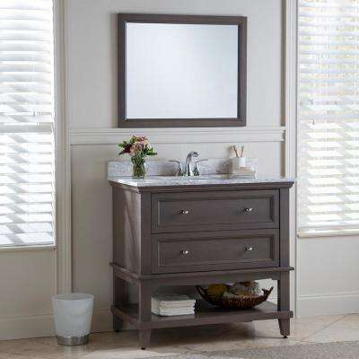 Teasian 37 in. W x 22 in. D Bathroom Vanity in Flagstone with Stone Effects Vanity Top in Winter Mist