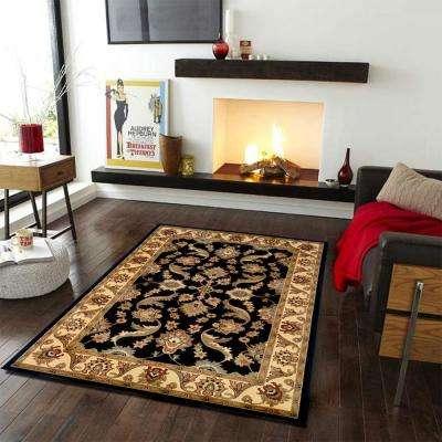 Traditional Design with Black/Cream Swirls 8 ft. x 10 ft. Plush Indoor Area Rug