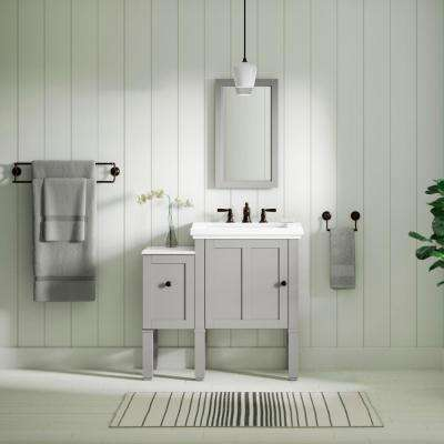 Chambly 12 in. Vanity Bridge in Mohair Grey with Vanity Top in Stone