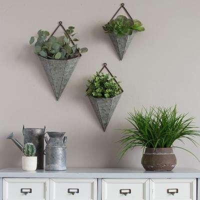 3-Piece Triangular Galvanized Metal Wall Planters