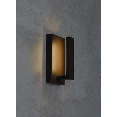 Nate 1-Light Bronze Outdoor 9.1 in. Integrated LED Wall Mount Sconce
