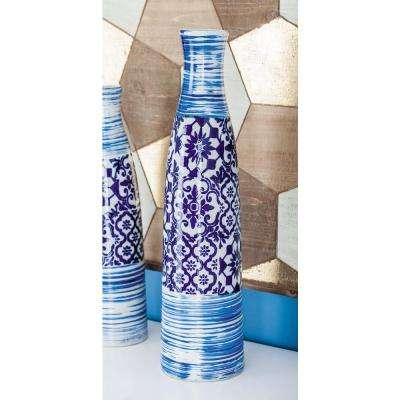 23 in. Oriental Blue and White Bottle-Shaped Decorative Vase