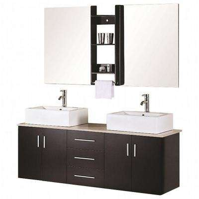 Ava 61 in. W x 20 in. D Vanity in Espresso with Quartz Vanity Top and Mirror in White