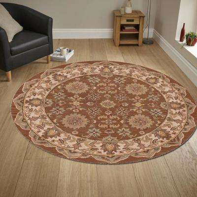 Shapes Coffee/Ivory 5 ft. x 5 ft. Traditional Indoor Round Area Rug