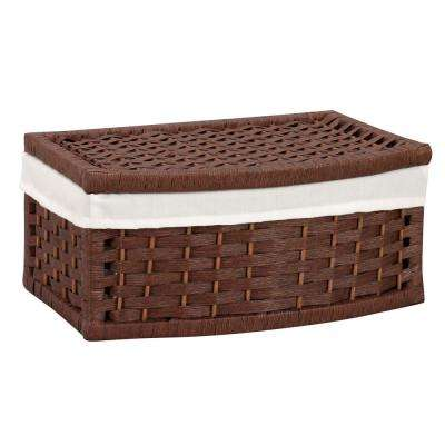 Rich Brown Stained Paper Rope Curved Basket with Fitted White Liner