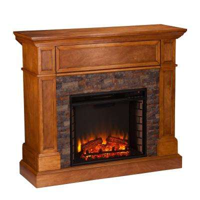 Bridgewater 45.5 in W Stone Look Convertible Electric Media Fireplace in Sienna