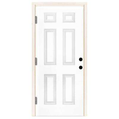 42 in. x 80 in. Premium 6 Panel Primed White Steel Prehung Front Door