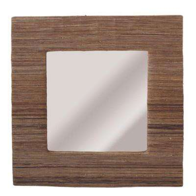 Sundry 20 in. x 20 in. Brown Bandala Weave Framed Wall Mirror
