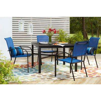 42 in. Mix and Match Black Square Metal Outdoor Patio Dining Table with Slat Top