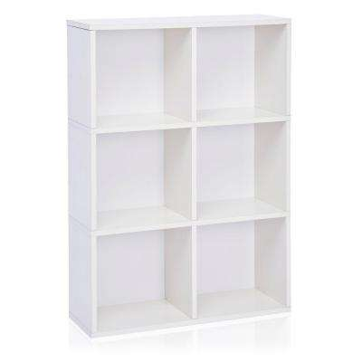 zBoard Tribeca 6-Cubby Eco Bookcase, Tool-Free Assembly Storage Organizer in White