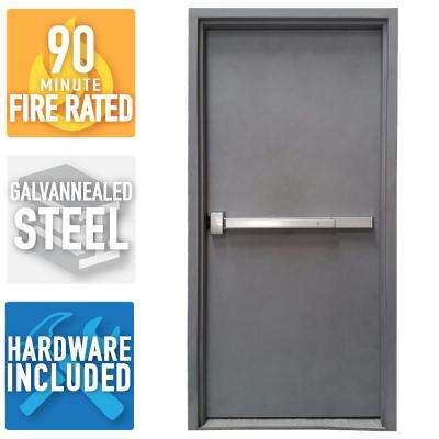 36 in. x 84 in. Fire-Rated Gray Right-Hand Outswing Flush Steel Commercial Door and Frame with Panic Bar and Hardware