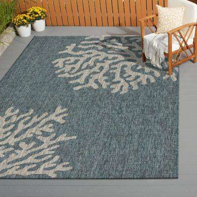 Captiva Blue / Gray 7 ft. 9 in. x 9 ft. 5 in. Rectangle Indoor/Outdoor Area Rug