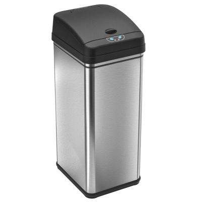 13 Gal. Stainless Steel Motion Sensing Touchless Trash Can with Deodorizing Carbon Filter Technology