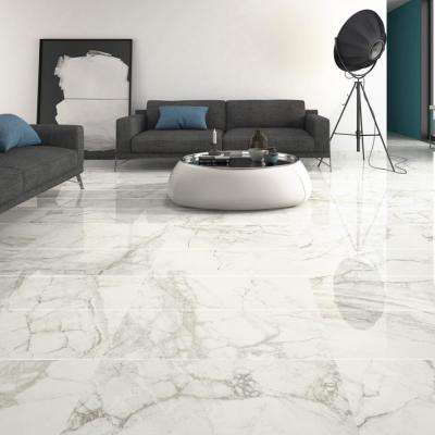 Jammu Gray and White 15 in. x 30 in. x 10mm Polished Porcelain Floor and Wall Tile (6 pieces / 18.16 sq. ft. / box)