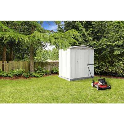 6 ft. H x 5 ft. D x 5 ft. W EZEE Galvanized Steel Storage Shed in Cream with Snap-IT Quick Assembly and Swing Door