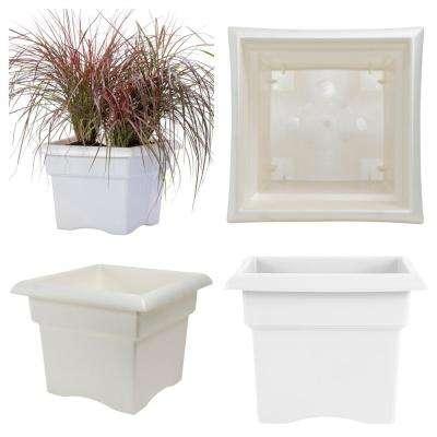 Veranda 18 in. x 14.25 White Plastic Square Deck Box Planter