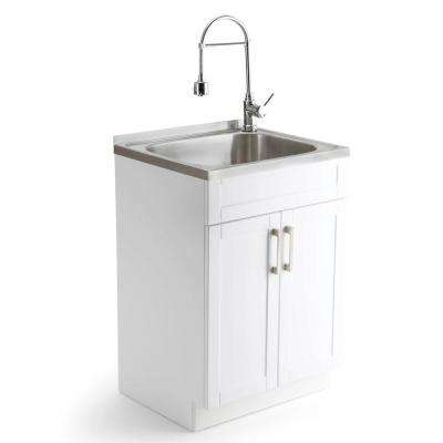 Hennessy 23.6 in. W x 19.7 in. D x 35.7 in. H Stainless Steel Laundry Sink and Wood Cabinet