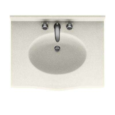 Europa 37 in. Solid Surface Vanity Top with Basin in Bisque